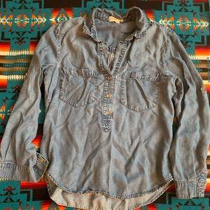 Anthropologie Cloth & Stone Denim Popover shirt M